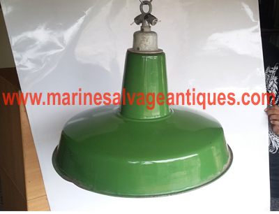 green enamel pendant light